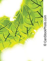 plano de fondo, con, hojas