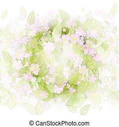 plano de fondo, con, hojas verdes