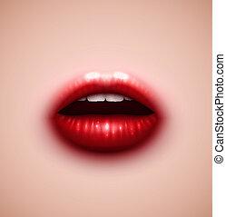 plano de fondo, con, labios
