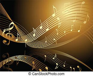 plano de fondo, con, música nota
