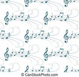 plano de fondo, con, música, notas.