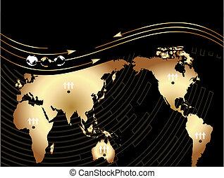 plano de fondo, con, mapa, de, el mundo