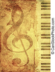 plano de fondo, con, musical, símbolos