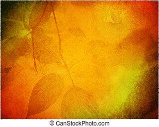 plano de fondo, con, permisos de otoño