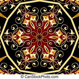 plano de fondo, con, real, gold(en), patrón