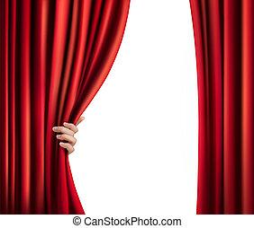 plano de fondo, con, rojo, cortina de terciopelo, y, mano.,...