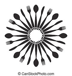 plano de fondo, con, tenedores, cucharas, fin, knifes., vector, ilustración