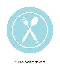 plano de fondo, con, tenedores, spoons., vector, ilustración