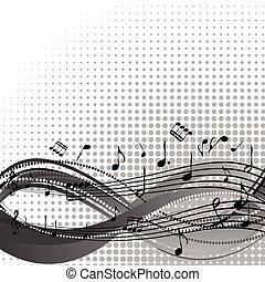 plano de fondo, con, travesaño, y, notas musicales