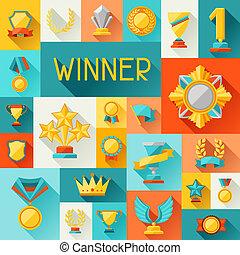 plano de fondo, con, trofeo, y, premios, en, plano, diseño,...