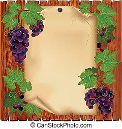 plano de fondo, con, uva, y, papel, en, tablero de madera