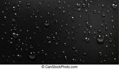 plano de fondo, condensación, gotas, negro, vidrio, agua