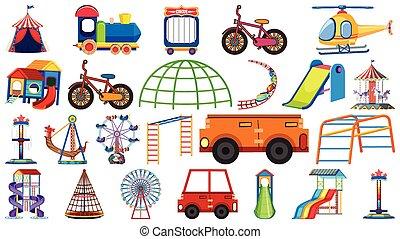 plano de fondo, conjunto, transportations, blanco, grande, ...