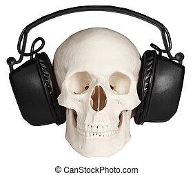 plano de fondo, cráneo, auriculares, música, humano, blanco
