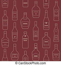 plano de fondo, de, alcohol, bottles., seamless, pattern.