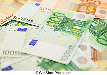 plano de fondo, de, billetes de banco de euro