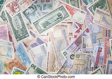 plano de fondo, de, billetes de banco, de, vario, monetario,...