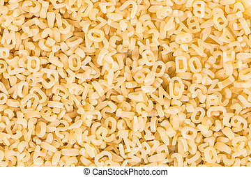 plano de fondo, de, crudo, pastas, en, el, forma, de, cartas, y, números
