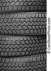 plano de fondo, de, cuatro, rueda de coche, invierno, neumáticos