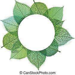 plano de fondo, de, estilizado, hojas verdes