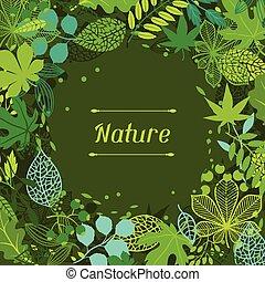 plano de fondo, de, estilizado, verde, leaves.