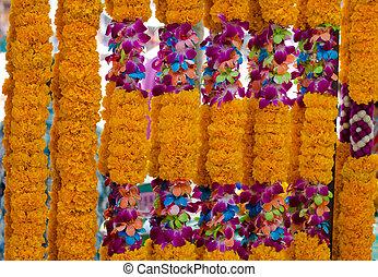 plano de fondo, de, flor enguirnalda, en, tailandés, style., tailandia
