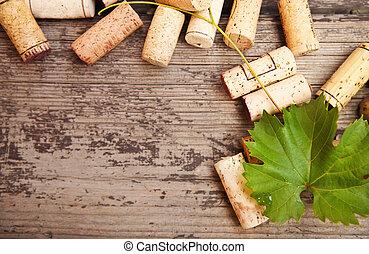 plano de fondo, de madera, anticuado, botella, corchos, vino