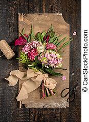plano de fondo, de madera, flores