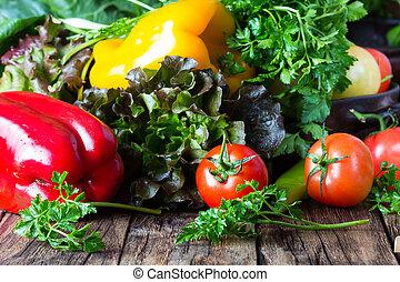 plano de fondo, de madera, verduras frescas