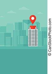 plano de fondo, de, moderno, ciudad, con, mapa, pointer.