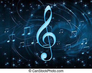 plano de fondo, de, musical, símbolos