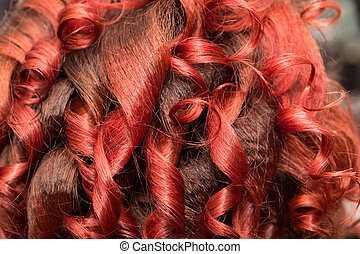 plano de fondo, de, rojo, pelo ondulado