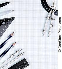 plano de fondo, -, dibujo, herramientas, blanco, cuaderno, hoja, en, caja