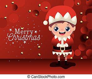 plano de fondo, duende, alegre, letras, icono, rojo, navidad