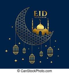 plano de fondo, eid, saludo, brillante, dorado, fiesta, mubarak