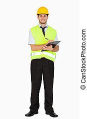 plano de fondo, el suyo, contra, notas, chaqueta, sonriente, seguridad, portapapeles, blanco, toma, capataz, joven