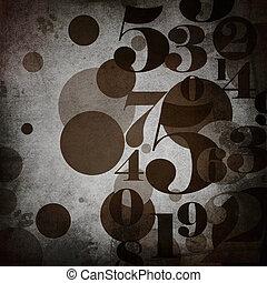 plano de fondo, en, grunge, estilo, con, números