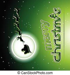 plano de fondo, encima, ilustración, vector, reindeers, santa, verde
