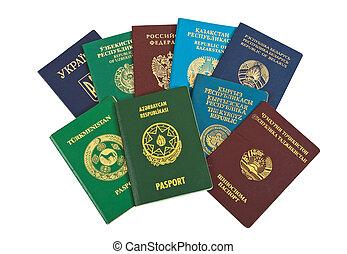 plano de fondo, extranjero, pasaportes, aislado, blanco