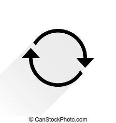 plano de fondo, flecha negra, rotación, blanco, icono