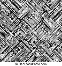 plano de fondo, garabato, seamless, negro, vector., étnico, patrón, blanco