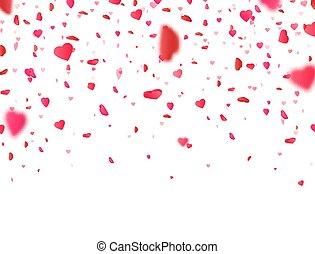 plano de fondo, heart., valentines, confeti, flor,...