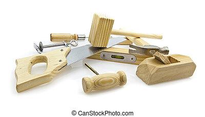 plano de fondo, herramientas, mano, carpintería, blanco