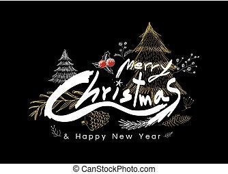 plano de fondo, ilustración, vector, diseño, alegre, año, negro, nuevo, navidad, feliz