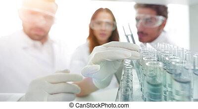 plano de fondo, imagen, es, un, grupo, de, científicos, estudiar, el, líquido, en
