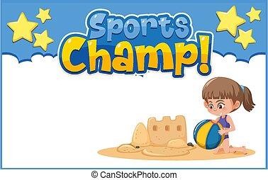 plano de fondo, juego, plantilla, sandcastle, niña