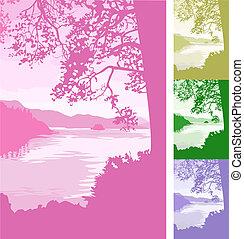 plano de fondo, lago, ilustración