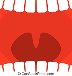 Plano de fondo, laringe, dientes, garganta, boca, abierto