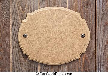 plano de fondo, letrero nombre, de madera