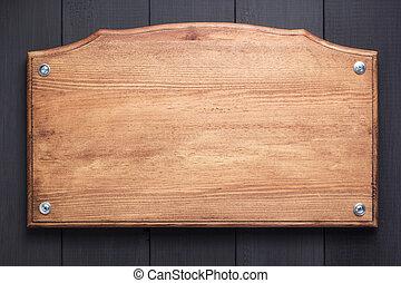 plano de fondo, letrero nombre, negro, textura, de madera
